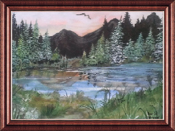 11 X 14  Giclee Country Scene    Peaceful Pond