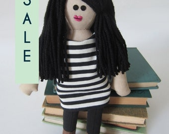 "Olivia Doll with Striped Shift Dress and Tights - Handmade 12"" plush doll by Lauren Dolls"
