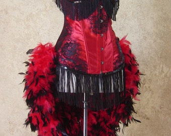 Red/Black Rose Lolita Showgirl Saloon Girl Moulin Burlesque Costume w/Feather Train Day of the Dead