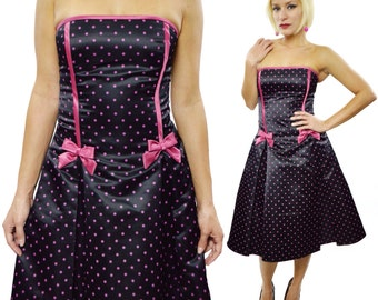 Vintage 80s Jessica McClintock for Gunne Sax New Wave Cocktail Strapless Polka Dot Dress