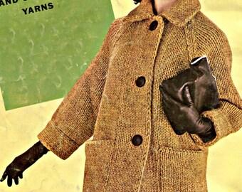 1950's Stylish Knit Coat Pattern, Bulky Knits