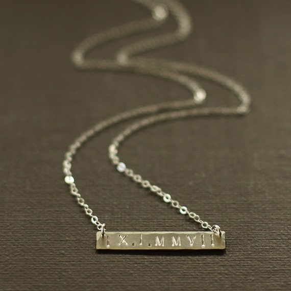 Roman Numeral Necklace Wedding Date Necklace Name Necklace