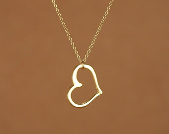 Heart necklace - love necklace - heart outline - gold heart necklace - a 22k gold vermeil heart outline hanging from 14k gold vermeil chain
