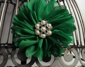 Emerald green hair flower, green hair clip, green hair accessory, girls flower hair clip, flower hair accessory, alligator hair clip.