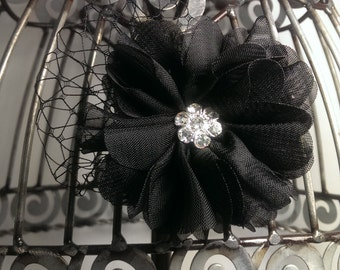 Black hair clip, black hair flower with french netting, black hair accessory, black alligator hair clip, girls hair clips, black flower clip