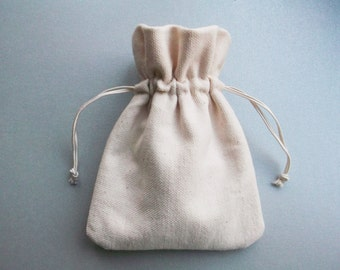 Very small natural cotton drawstring bags unbleached fabric pouches jewelry storage Cream wedding favor gift bags