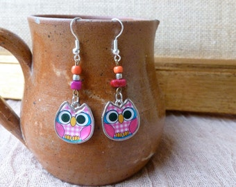 Handmade Owl And Bead Earrings, Silver Dangle Earrings
