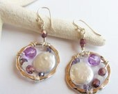 Wire-Wrapped Coin Pearl and Purple Bead Dangle Earrings, Hammered Silver Link Beaded Earrings, Unique Modern Rustic Pearl Earrings