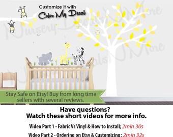 Yellow and Gray Wall Decal, Yellow Jungle Animals, White Tree Decal with Jungle Animal Decals (WA Yellow Gray) wa.ft.ma