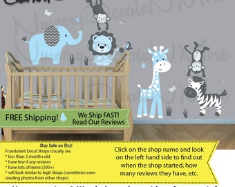 Baby Blue Jungle Decals, Jungle Animals, Wall Decals, Elephant Sticker, Monkey Decal (SG Baby Blue Animals Only) SGA