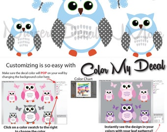 6 Owl Stickers, Owl Decals for Boy, Wall Stickers for Boys,  (6 Blue White Gray ) 6ROO