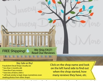 Kids Room Tree Decals with leaves, Nursery Wall Decal, Gray Tree Stickers (SilverMist) SmTO