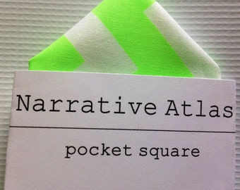 Pocket Square - Neon Green Chevron - Neon Collection