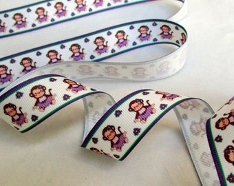 Purple Girl Monkeys Grosgrain Ribbon  -   7/8 inch wide  x 3 or 5 yards - your choice