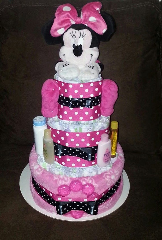 Items Similar To Minnie Mouse Diaper Cake On Etsy