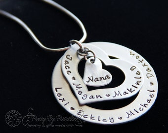 Mother's Day Gift for Grandma or Mom - Stacked Mommy Heart Necklace- Personalized Hand Stamped Jewelry-Children Names or Grandchildren Names