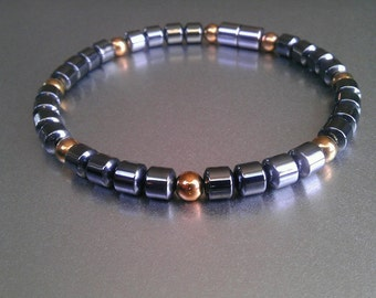 Men's Classic Magnetic Bracelet, Anklet or Necklace with round Magnetic Copper finish accents and Extra~Strength 7mm Clasp