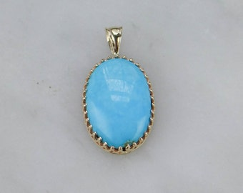 Exquisite Turquoise Pendant, Lovely Persian Blue in Fine Gold - YRQYTN-D