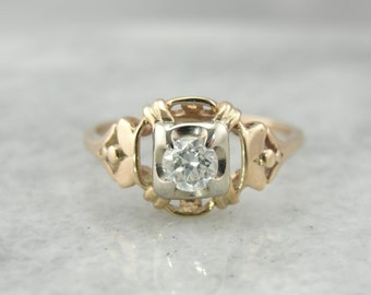 1930's Rose Gold and Diamond Ring with Lovely Open Work Design TCEAHA-P