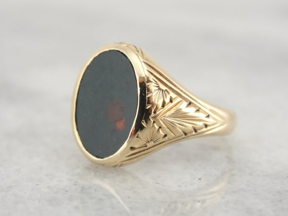 Vintage Small Mens or Ladies Ring Fine Bloodstone Center
