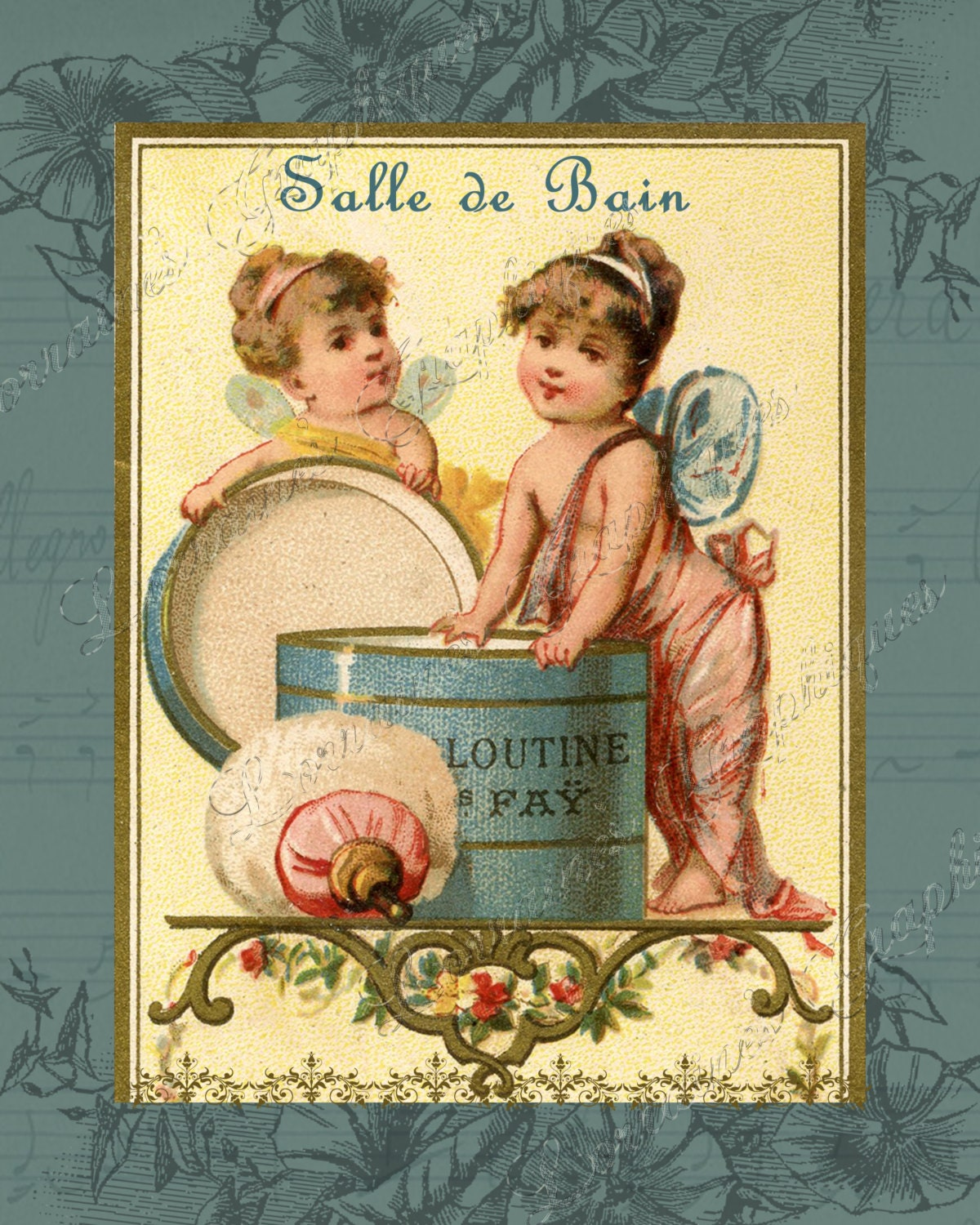 Salle De Bain French Inspired Vintage Bathroom Fine Art Photographic Print