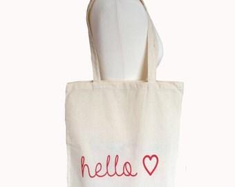 Screen printed tote bag Hello Sweetheart  heart natural/red