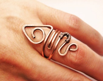 Wire Wrapped Adjustable Copper Ring - wire wrapped ring handmade - wire wrapped jewelry handmade