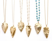 Gold Arrowhead Necklace on Long Chain / Long Necklace Arrowhead Gold Necklace / Boho Long Necklace / Choose your Style Chain LN708