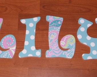 Custom Made Wooden Nursery Letters, Aqua Pixie Baby
