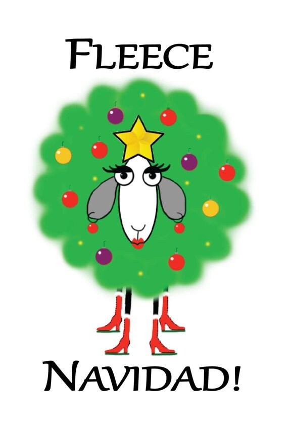 "Christmas Sheep Cards ""Fleece Navidad!"