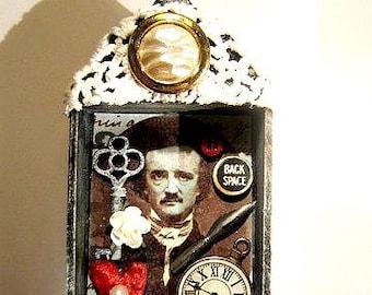 Edgar Allan Poe mixed media assemblage wood shrine nicho diorama miniature art  OOAK