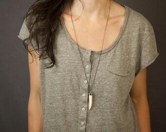 GYPSY TUSK Necklace // Long Boho Necklace // Buffalo-Bone Jewelry // Big Pendant Necklace // Options to Customize