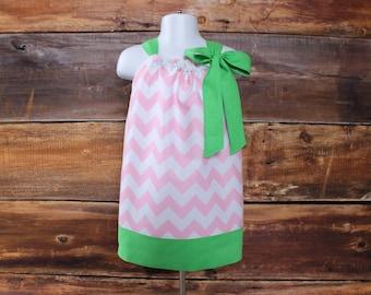 Pink Pillowcase Dress - Newborn to Child 11/12 Valentine's Day Easter baby infant toddler girls spring matching headband summer
