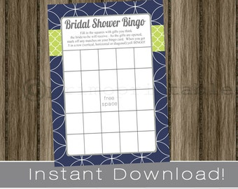 BRIDAL Shower Bingo Game Cards /  navy blue and green  /  INSTANT DOWNLOAD / diy digital printable file / print your own