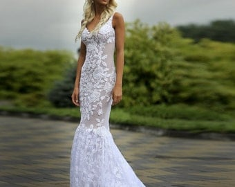 """Lace Wedding Dress with Puddle Train and Handmade Embellishments by Lace, Pearls and Beads -""""Roksolana"""", Unique Wedding Dress"""
