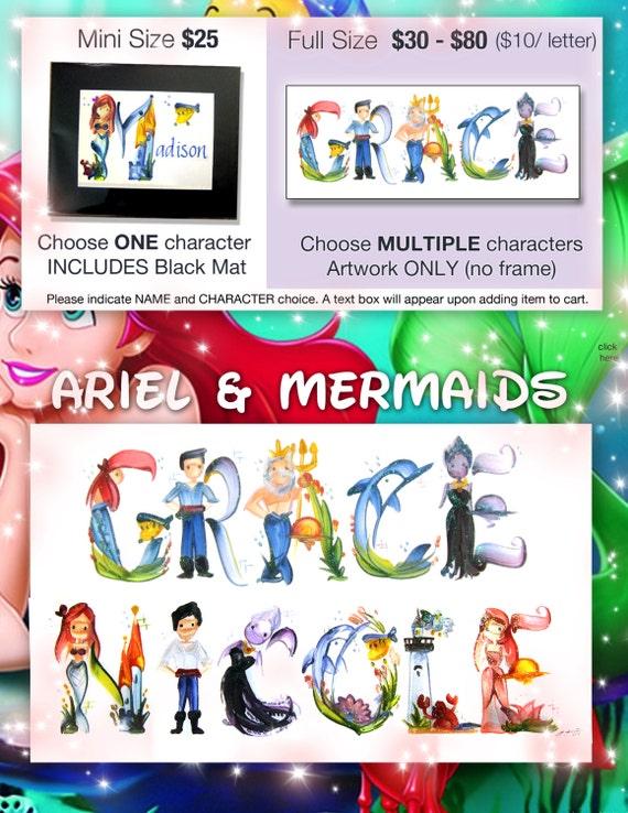 Custom Ariel Disney Mermaid Name Painting By Legendbrush