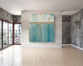 Large Abstract Painting Modern Teal and White 40x36 Abstract Wall Art