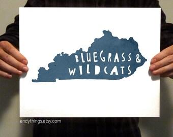 "KENTUCKY - ""Bluegrass & Wildcats"" - 11x14 Typography Print"