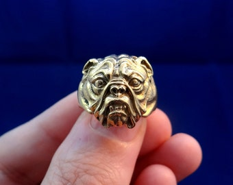 American Bulldog Ring, Brass Ring, Dog Ring, Animal Ring, Bulldog Jewelry, Dog Jewelry, Big Ring