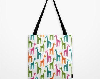 Multicolor Giraffes Tote Bag, Colorful Giraffe Shoulder Bag