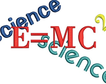 embroidery design Science Geek , Nerd, E = MC 2 embroidery file