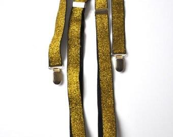 Vintage Golden and Black Suspenders