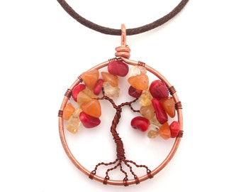 Red Coral, Orange Aventurine and Yellow Citrine Tree of Life necklace