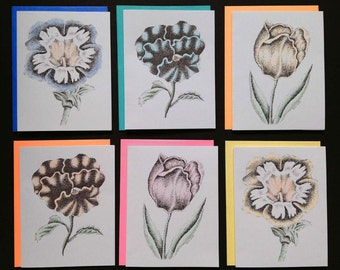 Flower Notecards, pack of 6; 3 different designs