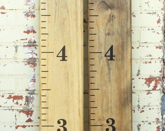 Hand-stained Wooden Growth Chart Ruler Vintage design - Traditional style - Large #s