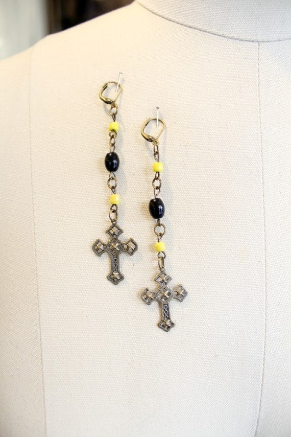 SALE - AMEN - earrins with cross for women - black and yellow