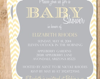 Gender Neutral  Chevron Baby Shower Invitation  . Printable Invitation . JPEG or PDF File