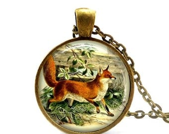 Fox necklace vintage wildlife pendant woodland animal red fox jewelry.