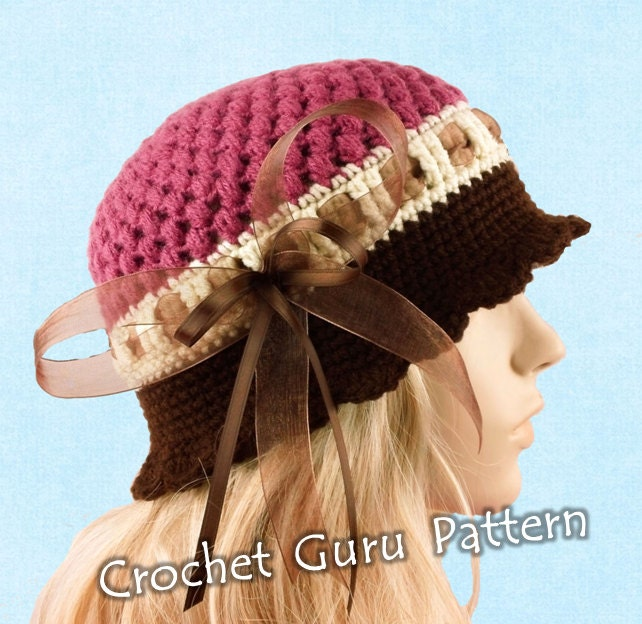 Crochet Pattern For Baby Cloche Hat : Crochet Cloche Hat Pattern 5 Sizes Baby to by CrochetGuruShop