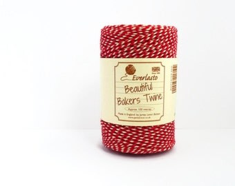 Red Baker's Twine - 100m Spool of Classic Beefeater Red & White Twine